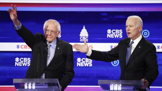 Die beiden demokratischen Präsidentschaftskandidaten Bernie Sanders und Joe Biden gelten nach dem Super-Tuesday als Favoriten.