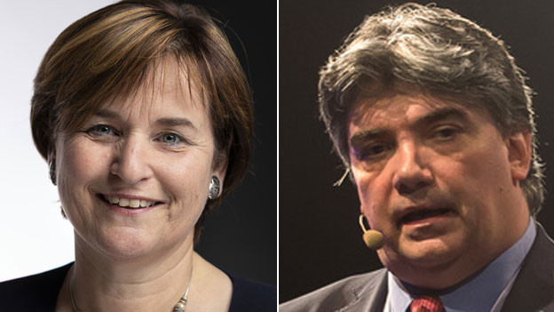 Marina Carobbio, Tessiner SP-Ständerätin (links) Luca Albertoni, Direktor der Tessiner Handelskammer.