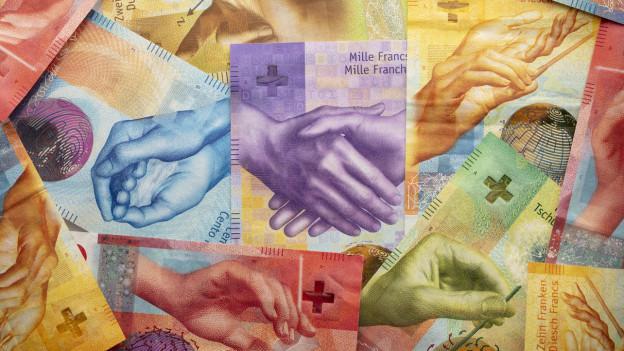 Detailaufnahme der Schweizer Banknoten.