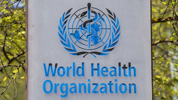 Das Logo am Eingang zur WHO in Genf.