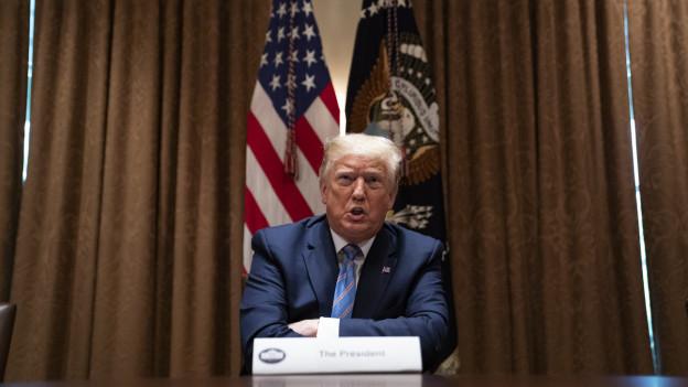 Im Bild zu sehen ist US-Präsident Donald Trump vor einer US-Flagge.