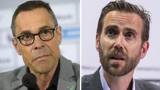 Matthias Hüppi, Präsident des FC St. Gallen (links) und Claudius Schäfer, Liga-Geschäftsführer.