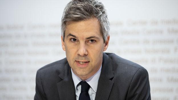 Marcel Salathé, Professor EPFL, spricht während einer Medienkonferenz über die Lancierung der SwissCovid App und das Vollzugsmonitoring COVID-19, am 25. Juni 2020 in Bern.
