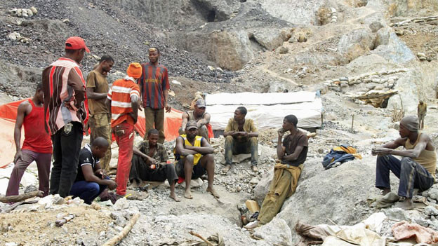 Arbeiter in der Kantanga Kobalt-Mine in der Demokratischen Republik Kongo.