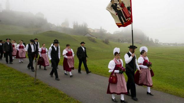 Trachtengruppe an der Feier zur Morgarten-Schlacht