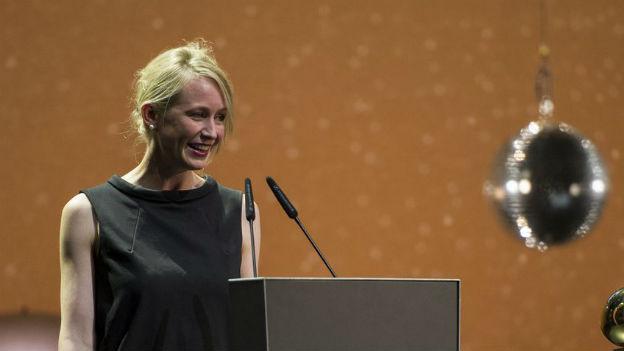 """Anna Thommen, Regisseurin des Films """"Neuland"""" (Auftritt am Zurich Film Festival 2013)."""