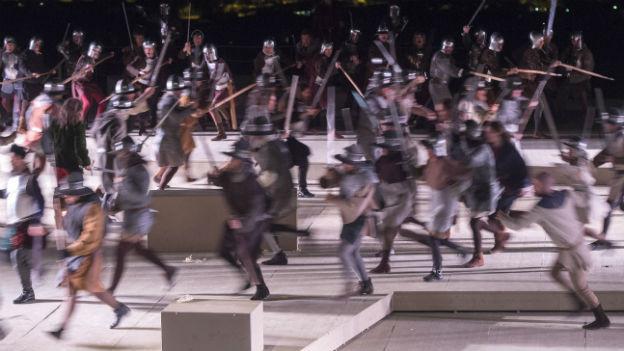 Szene aus der Inszenierung der Schlacht von Murten.
