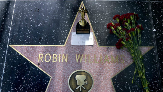 Blumen für Robin Williams am Hollywood Walk of Fame.