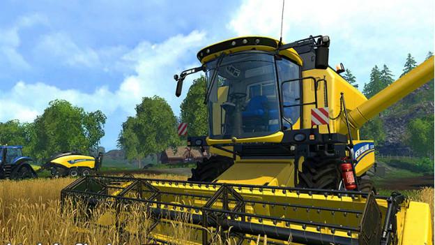 Ein computeranimierter Mähdrescher aus dem Game «Landwirtschafts Simulator 15».