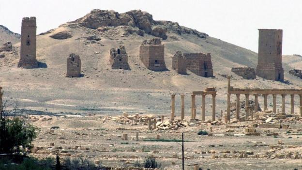 Auf dem Bild ist die antike Ruinenstadt Palmyra in der Wüste von Syrien zu sehen.