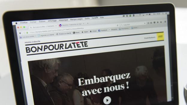 Der Onlineauftritt des neuen Mediums aus der Romandie: «Bon pour la tête»