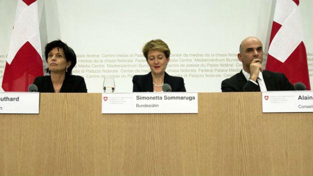 Bundesrat am Sonntag: Leuthard, Sommaruga und Berset.