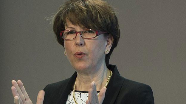 Susanne Ruoff, Konzernleiterin, spricht an der Bilanzmedienkonferenz der Schweizerischen Post, am Donnerstag 21. März 2013, in Bern.