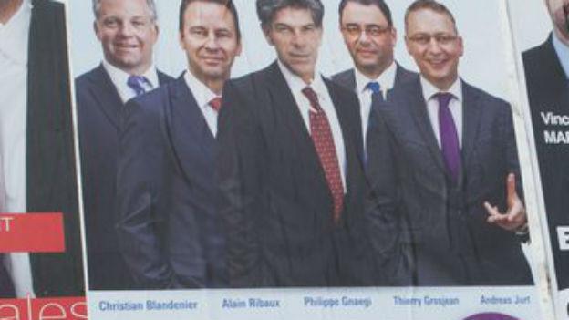 Das Wahlplakat der Neuenburger Freisinnigen: sie traten gleich mit fünf Kandidaten an
