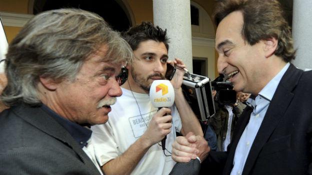 Der neue Tessiner Staatsrat Michele Barra (links) und sein Vorgänger Marco Borradori