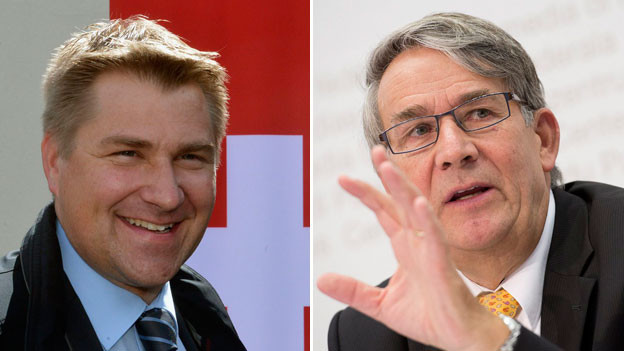 SVP-Präsident Toni Brunner und CVP-Fraktionschef Urs Schwaller.