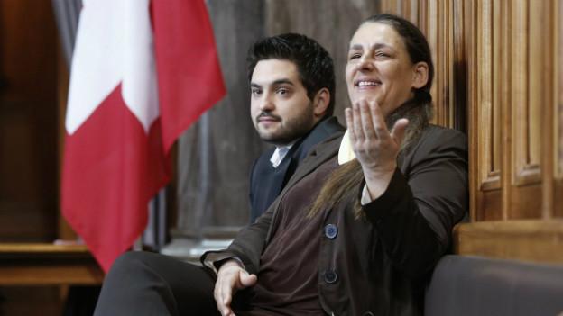 Jacqueline Badran (rechts) zusammen mit Cédric Wermuth im Bundeshaus.