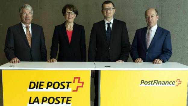Die Postverantwortlichen bei der heutigen Medienkonferenz in Bern