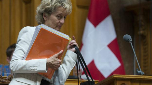 Bundesrätin Eveline Widmer-Schlumpf nach dem Nein des Nationalrats zur Lex USA.