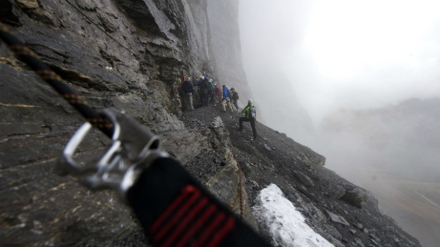 Die Eigernordwand oberhalb von Grindelwald 2009.