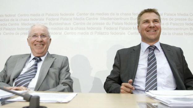 Nationalrat Christoph Blocher (l.) und SVP-Chef Toni Brunner