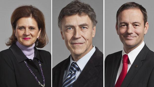 Doris Fiala, FDP, Luzi Stamm, SVP und Martin Naef, SP (von links nach rechts).