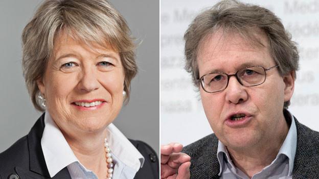 Corina Eichenberger, FDP-Nationalrätin und Jo Lang, Vizepräsident Grüne