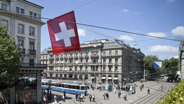 Das Bankenzentrum der Schweiz: Der Zürcher Paradeplatz.