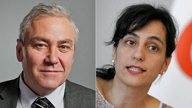Der Schwyzer CVP-Nationalrat Alois Gmür und Unia-Co-Präsidentin Vania Alleva