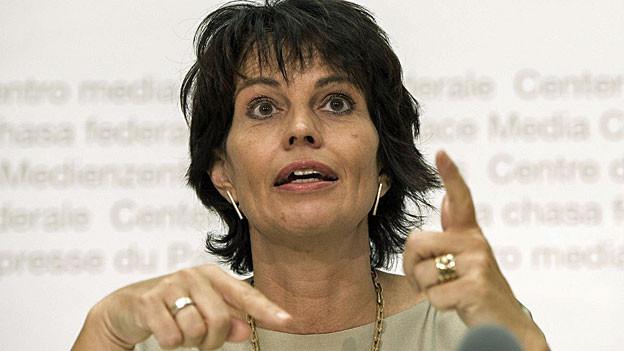 Bunndesrätin Doris Leuthard an der Medienkonferenz zur «Energiestrategie 2050», am 4. September in Bern.