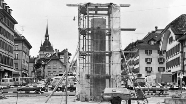 Der Oppenheim-Brunnen im Bau im Oktober 1983.