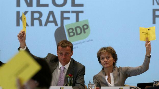BDP-Parteipräsident Martin Landolt und BDP-Bundesrätin Eveline Widmer-Schlumpf.