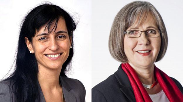 Vania Alleva (links), Vizepräsidentin des Schweizerischen Gewerkschaftsbundes und Ruth Derrer, Geschäftsleitungsmitglied des Schweizerischen Arbeitgeberverbandes.