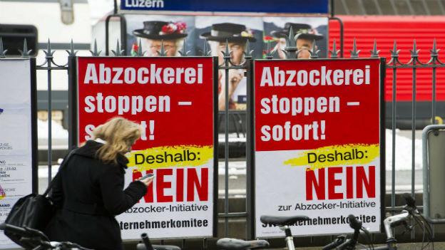 Abstimmungskampf zur Abzockerinitiative.