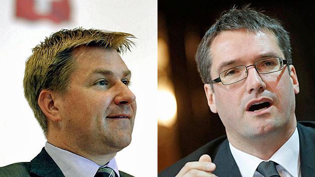 SVP-Präsident Toni Brunner, PRO und SP-Präsident Christian Levrat, CONTRA.