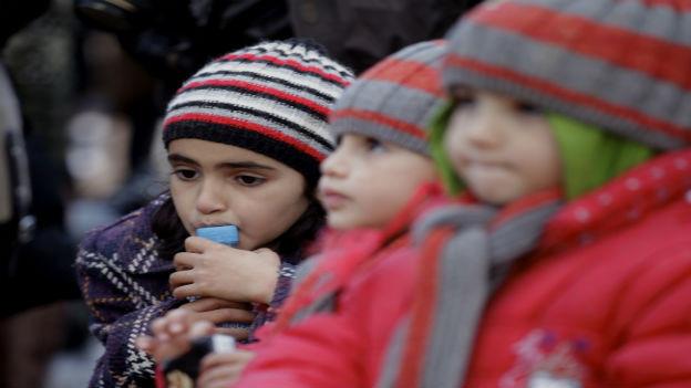 Syrische Kinder auf der Flucht.