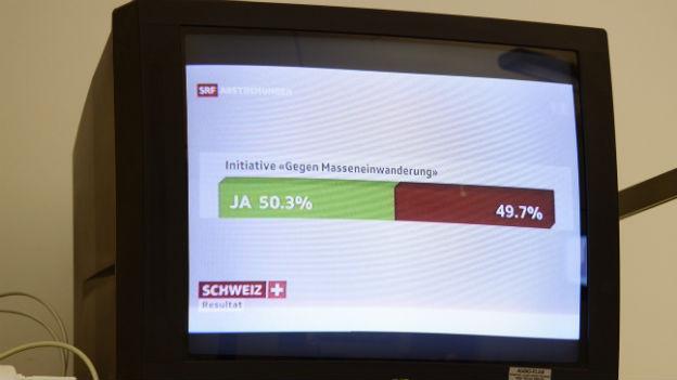 Ein TV-Gerät zeigt das knappe Ja zur SVP-Initiative.