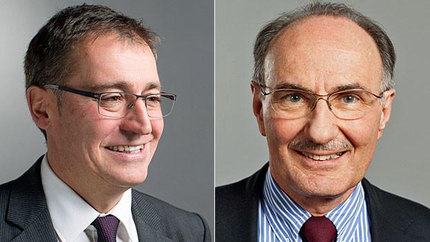 Roland Rino Büchel, Vizepräsident der Aussenpolitischen Kommission des Nationalrats und Felix Gutzwiller, Präsident der Aussenpolitischen Kommission des Ständerats.