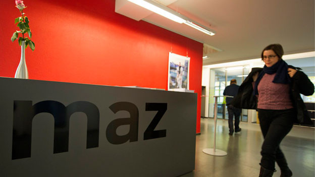 Innenansicht der Schweizer Journalistenschule MAZ in Luzern.