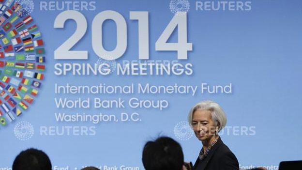 IMF - Direktorin Christine Lagarde an einer Konferenz in Washington am 10.4.2014.