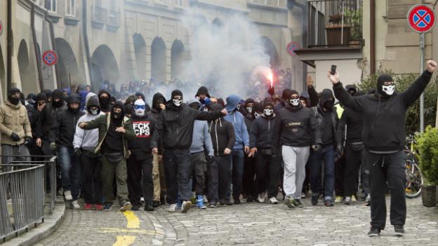 FCZ-Fans in der Berner Innenstadt vor dem Cupfinal.