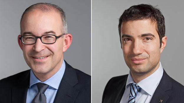 Gregor Rutz, SVP-Nationalrat (links) und Andrea Caroni, FDP-Nationalrat