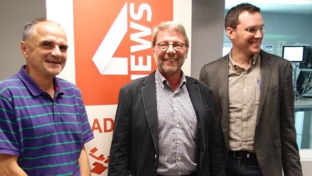 Bern Schildger, Daniele Piazza und Georg Lutz im Studio von SRF 4 News.