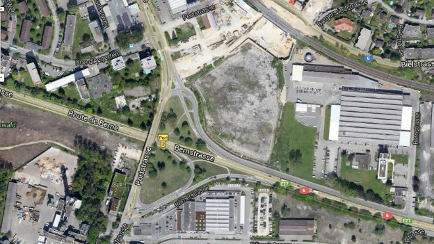 Ein Ausschnitt aus Google-Maps zeigt die A5 Baustelle in Biel.