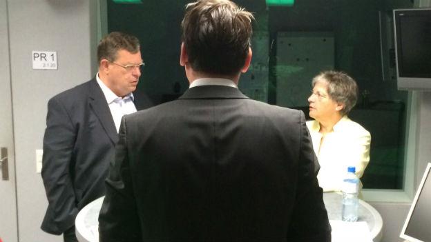 Lucrezia Meier-Schatz (CVP) und Toni Bortoluzzi (SVP) im Gespräch