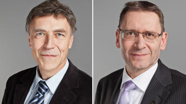 Luzi Stamm, Nationalrat der SVP des Kantons Aargau (links) und Pirmin Bischof, Ständerat der CVP des Kantons Solothurn.