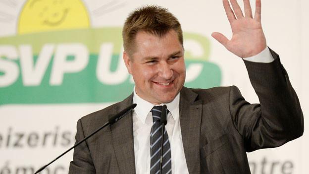 SVP-Parteipräsiden Toni Brunner an der Delegiertenversammlung vom 5.4.2014.