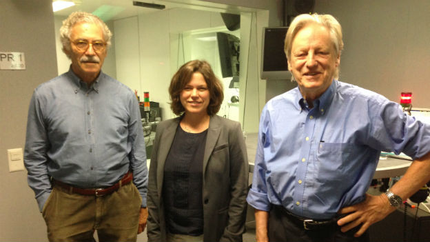 Oswald Sigg, Michelle Beyeler und Thomas Held im Studio von Radio SRF.