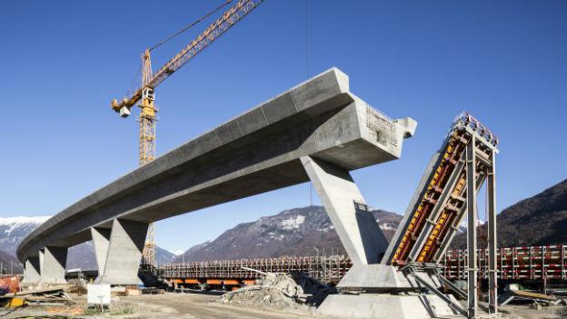 Aufnahme der Baustelle am Ceneri-Basistunnel im Tessin.