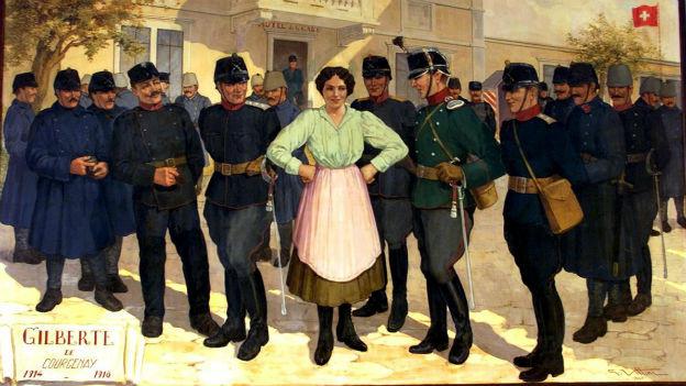 Auf diesem Bild ist eine Freske von Gilberte und Soldaten zu sehen, welche im Hotel de la Gare in Courgenay hängt.